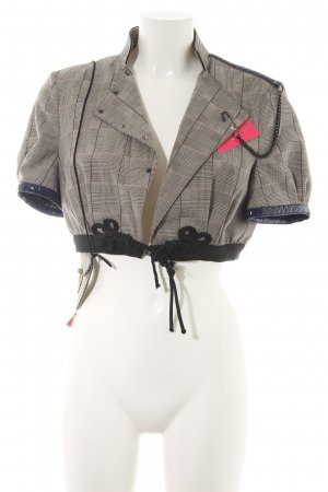 Hugo Boss Short Blazer grey brown-dark brown check pattern elegant