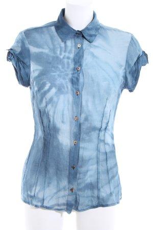 Hugo Boss Kurzarm-Bluse blau abstraktes Muster Casual-Look
