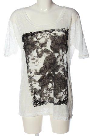 Hugo Boss Kurzarm-Bluse weiß-schwarz Motivdruck Casual-Look