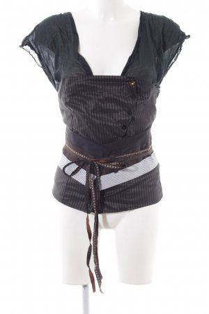 Hugo Boss Kurzarm-Bluse Streifenmuster extravaganter Stil