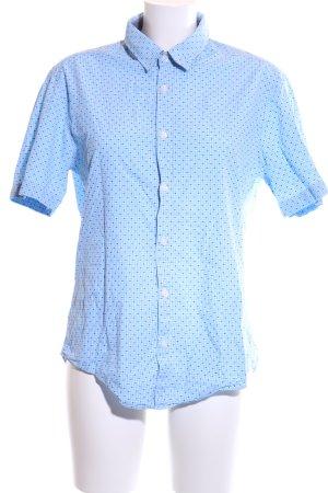 Hugo Boss Kurzarmhemd blau-weiß Allover-Druck Business-Look