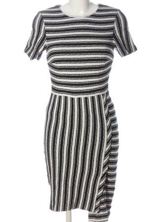 Hugo Boss Kurzarmkleid weiß-schwarz Streifenmuster Casual-Look