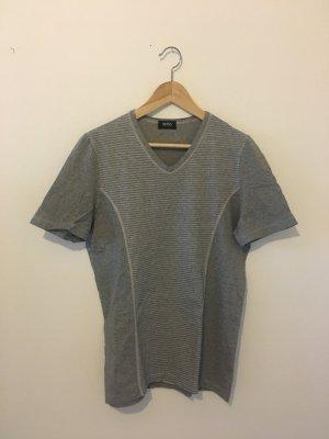 Hugo Boss L large 40 grau weiß geringelt Ringel Streifen gestreift v Shirt T-Shirt Halbarm Oberteil Top boyfriend unisex