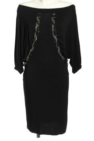 Hugo Boss Vestido de manga larga negro moteado elegante