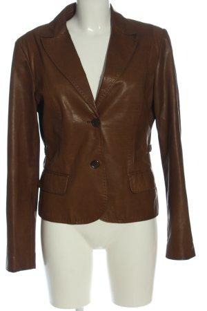 Hugo Boss Leren blazer bruin elegant