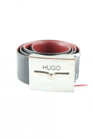Hugo Boss Leather Belt black-silver-colored casual look