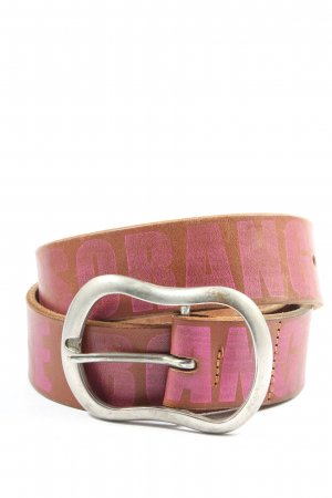Hugo Boss Ledergürtel braun-pink Schriftzug gedruckt Casual-Look