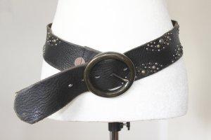 Hugo Boss Studded Belt dark brown-taupe leather