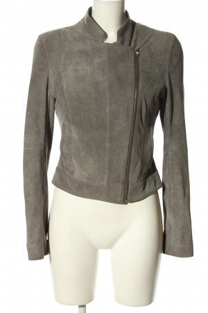 Hugo Boss Lederjacke hellgrau Casual-Look