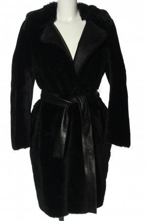 Hugo Boss Cappotto in pelle nero elegante