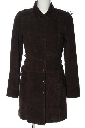 Hugo Boss Skórzany płaszcz brązowy W stylu casual