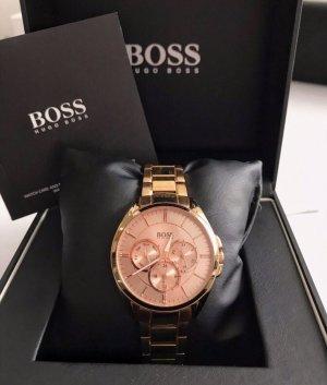 Hugo Boss Zegarek z metalowym paskiem w kolorze różowego złota