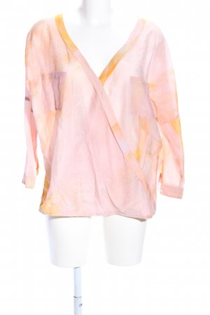 Hugo Boss Oversized Bluse creme-hellorange abstraktes Muster Casual-Look