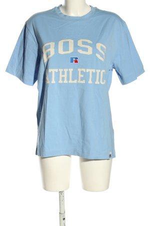 Hugo Boss Oversized Shirt blau-wollweiß Allover-Druck Casual-Look