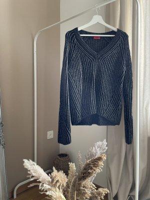 HUGO Hugo Boss Knitted Sweater black-silver-colored