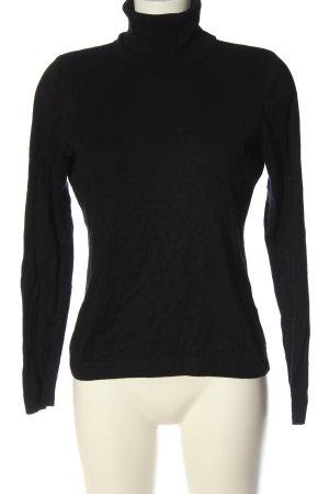Hugo Boss Turtleneck Sweater black cable stitch casual look