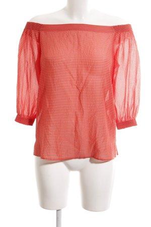 Hugo Boss Schlupf-Bluse rot-weiß Streifenmuster Casual-Look