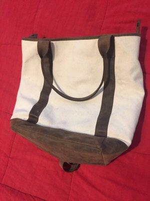 Hugo Boss Plecak marynarski w kolorze białej wełny-brązowy