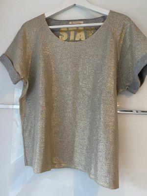 Hugo Boss Camisa tejida gris-color oro