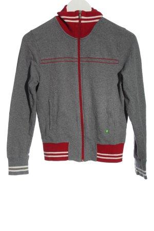 Hugo Boss Giacca in maglia grigio chiaro-rosso puntinato stile casual