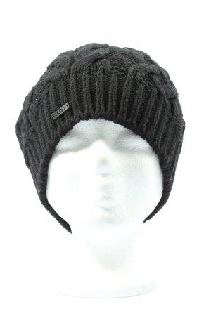 Hugo Boss Cappello a maglia nero punto treccia stile casual