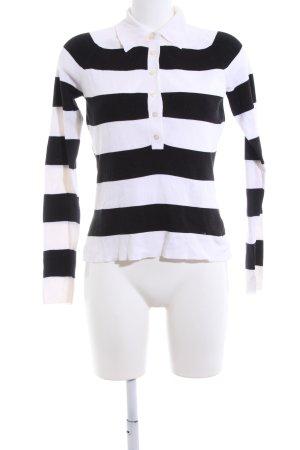 Hugo Boss Strickpullover schwarz-weiß Streifenmuster Casual-Look