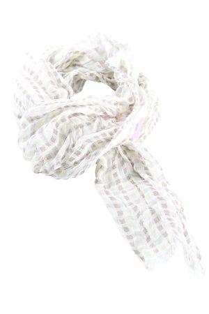 Hugo Boss Sciarpa lavorata a maglia bianco-marrone motivo a quadri stile casual