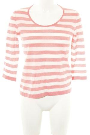 Hugo Boss Strickshirt weiß-rot Streifenmuster Casual-Look