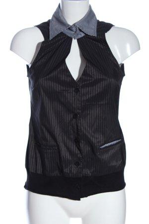 Hugo Boss Anzugweste schwarz Streifenmuster Casual-Look