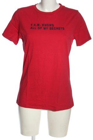 Hugo Boss T-Shirt rot-blau Schriftzug gestickt Casual-Look