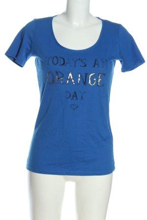 Hugo Boss T-Shirt blau Schriftzug gedruckt Casual-Look