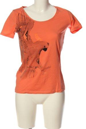 Hugo Boss T-Shirt hellorange Motivdruck Casual-Look