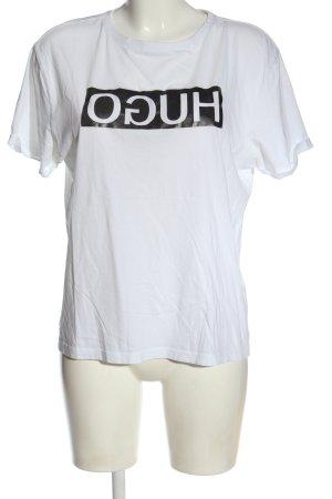 Hugo Boss T-Shirt weiß-schwarz Motivdruck Casual-Look