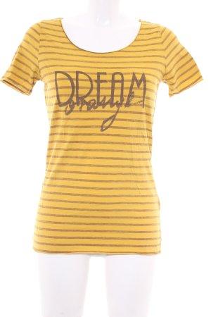 Hugo Boss T-Shirt dunkelgelb-ocker Streifenmuster Casual-Look