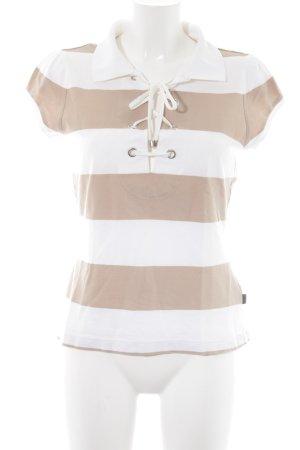 Hugo Boss T-Shirt weiß-camel Streifenmuster Casual-Look