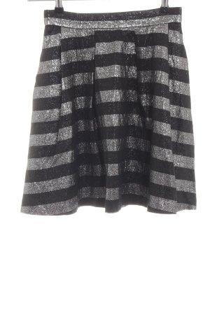 Hugo Boss Tellerrock schwarz-silberfarben Streifenmuster Glanz-Optik