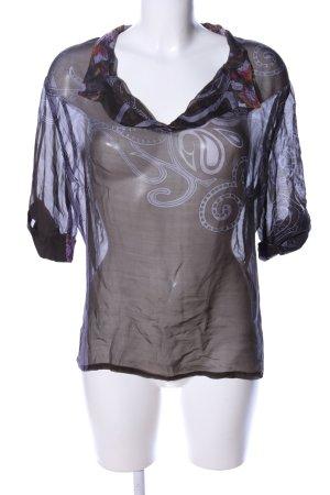 Hugo Boss Transparenz-Bluse schwarz-weiß abstraktes Muster Casual-Look