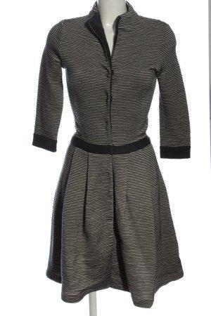 Hugo Boss Vestito di lana nero-bianco sporco motivo a righe stile casual