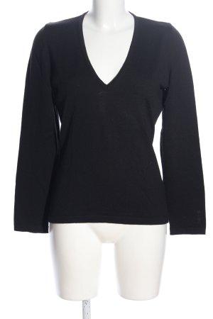HUGO Hugo Boss V-Ausschnitt-Pullover schwarz Schriftzug gestickt Casual-Look