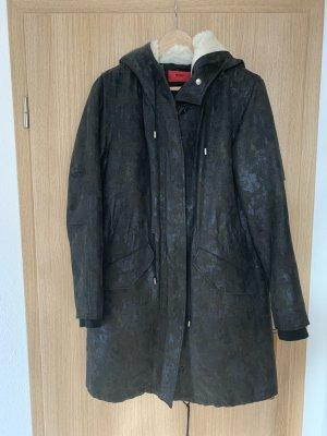 HUGO Mantel mit Schafsfelleinsatz schwarz/ khaki