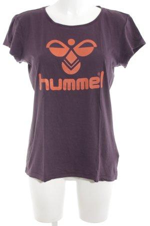 Hummel Basic Top lila-hellorange Schriftzug gedruckt Casual-Look