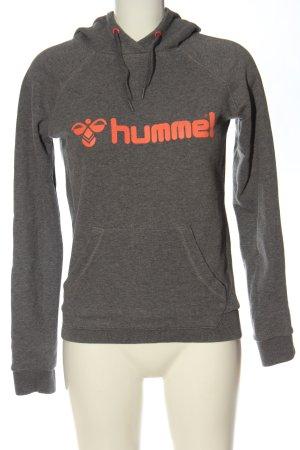 Hummel Felpa con cappuccio grigio chiaro-arancione chiaro puntinato stile casual