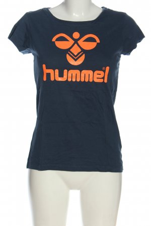 Hummel Print-Shirt blau-hellorange Motivdruck Casual-Look