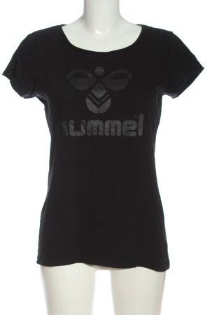 Hummel Print-Shirt schwarz-hellgrau Motivdruck Casual-Look