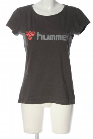 Hummel Print-Shirt hellgrau Schriftzug gedruckt Casual-Look