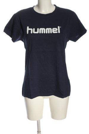 Hummel T-shirt blu-bianco caratteri stampati stile casual