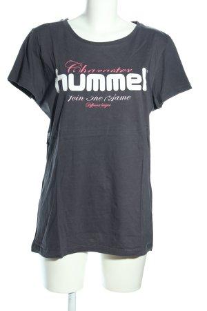 Hummel T-Shirt hellgrau-weiß Schriftzug gedruckt Casual-Look