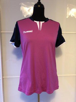 Hummel T-shirt de sport bleu foncé-rose