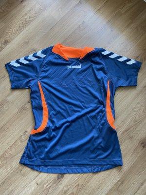 Hummel T-shirt de sport bleu pétrole-orange fluo