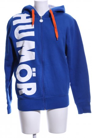 Humör Sweat Jacket blue-white printed lettering casual look